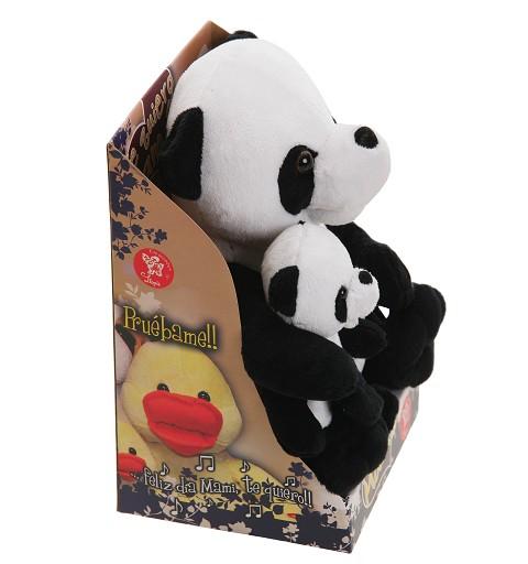 Panda Mami Con Bebe Canta Para Mama Caja-Pilas 26 cm.