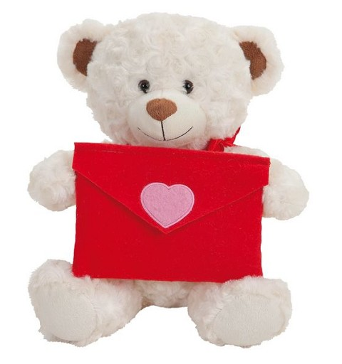 Oso Blanco con Carta Para Mensaje de Amor 30 cm Caja
