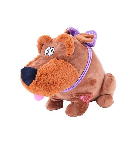 Perro marron oscuro con lazo lila 65 cm P0851