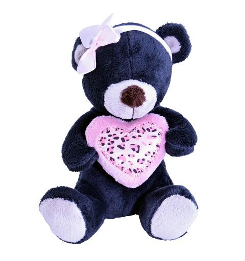 Oso Negro Corazón y Lazo Rosa 20 cm