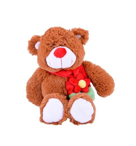 Oso con Bufanda y Flor Roja 24 cm