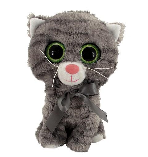 Gato Gris Ojos Verdes Brillantes 20 cm