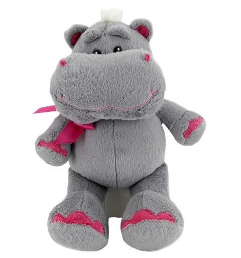 Hipopotamo Gris y Fuxia 25 cms.