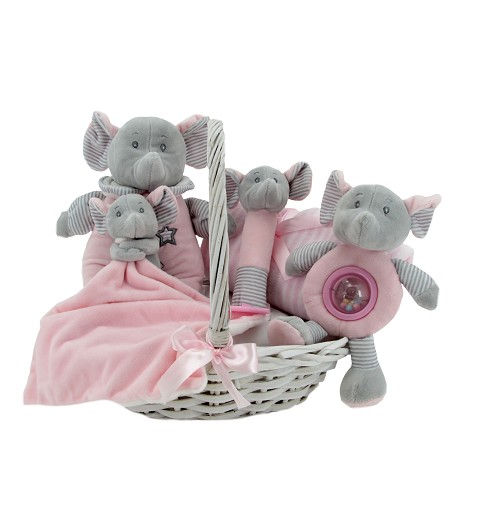 Canastilla Elefante Rosa Pequeña