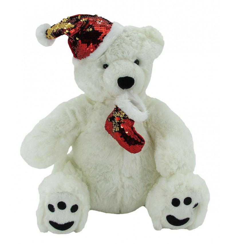 Oso Polar Blanco Navidad 44 cm