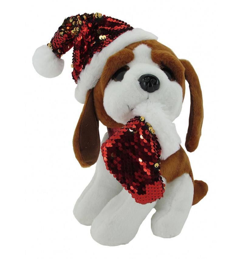 Perro Bicolor Collar Purpurina Navidad 25Cm
