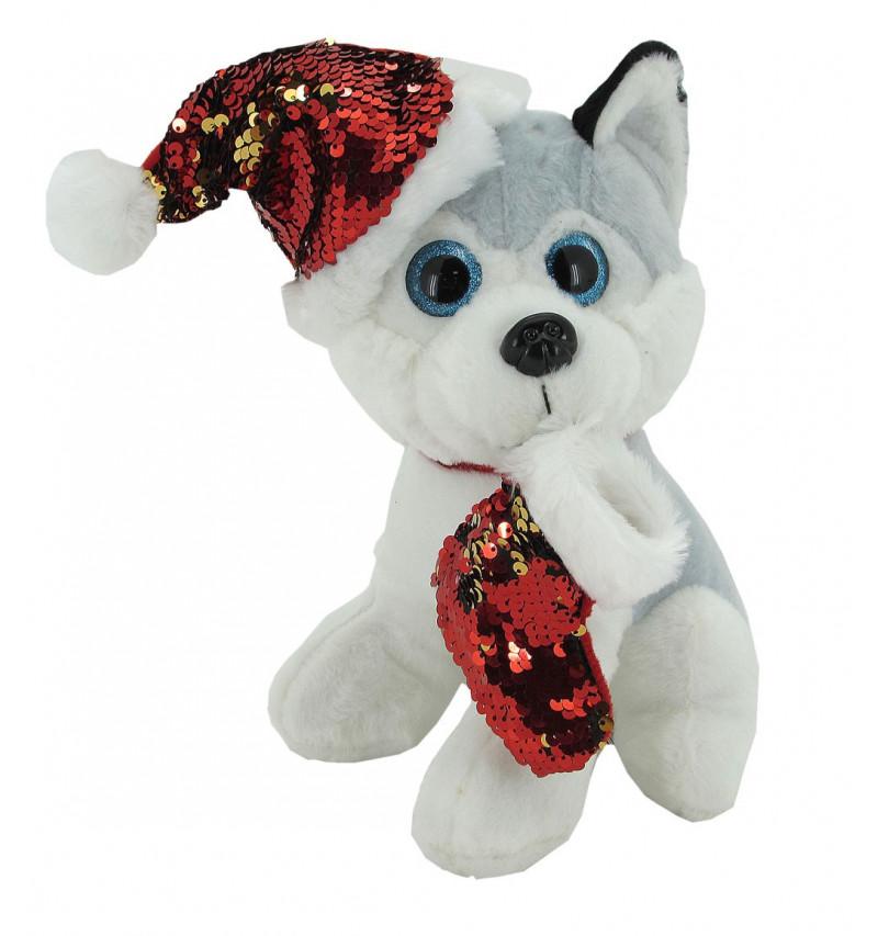 Perro Husky Collar Purpurina Navidad 25Cm