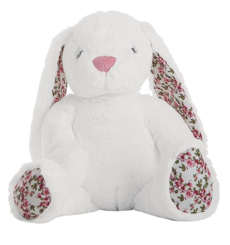 Conejo Flores Blanco En Caja 40 cm