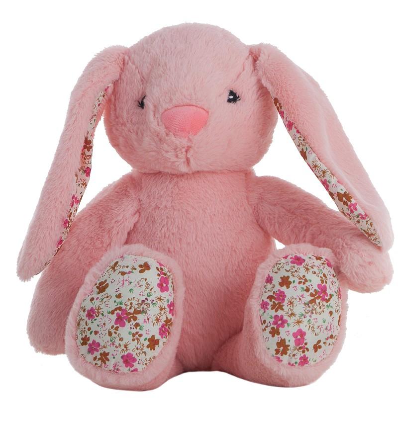 Conejo Flores Rosa En Caja 40 cm