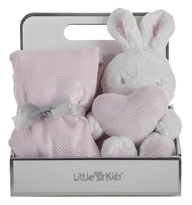 Caja con Manta 75 x 75 Doble Cara + Conejo Rosa 30Cm