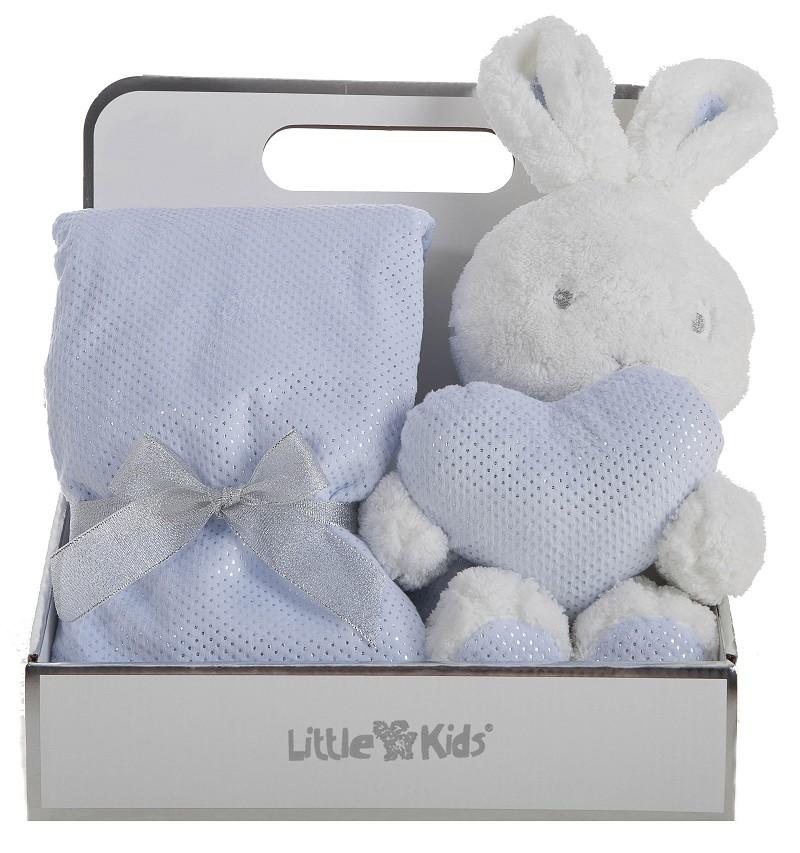 Caja con Manta 75 x 75 Doble Cara + Conejo Azul 30 cm