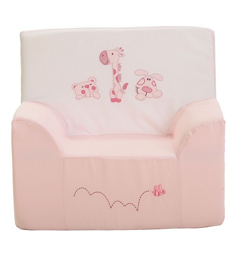 Sillon Rosa Bordado 3 Animalitos 44X38X47,